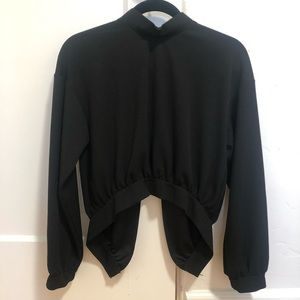 Zara black mock neck top | Back opening
